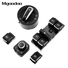 Side Mirror Headlight Headlamp Window Switch Button Kit For Volkswagen VW CC Tiguan Passat B6 GTI Golf 5 6 Jetta MK5 Golf Plus headlight window mirror control switch button for volkswagen vw jetta mk5 golf 5 6 tiguan passat b6 cc golf plus rabbit 6pcs set