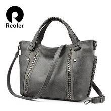 dc2713503b9c REALER бренд стильная женская сумка в руках высокого качества с короткими  ручками, большая ручная сумка