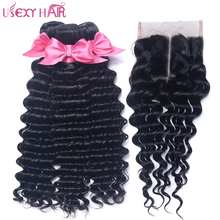 USEXY HAIR Brazilian Deep Wave With Closure 4*4 Inch Swiss Lace Middle/Free Part Non Remy Human Hair Weave 3 Bundles No Tangle