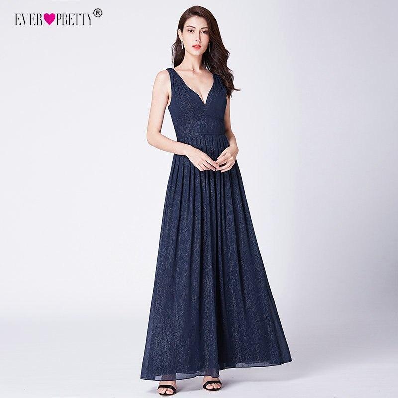 Navy Blue Prom Dresses 2018 Ever Pretty EP07465 New A-line Deep V ...