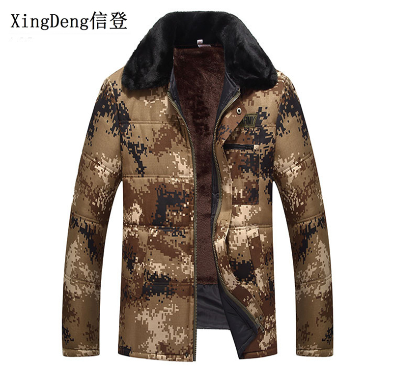 XingDeng 2018 New Military Camouflage Fashion Jackets Men Hooded Waterproof Cotton Jacket Winter Warm Army Outerwear Top Coat
