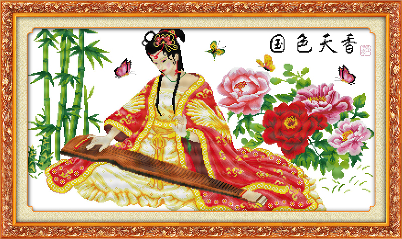 National beauty and heavenly fragrance(2)(Playing Lyre) cross stitch kit people 18ct 14c ...