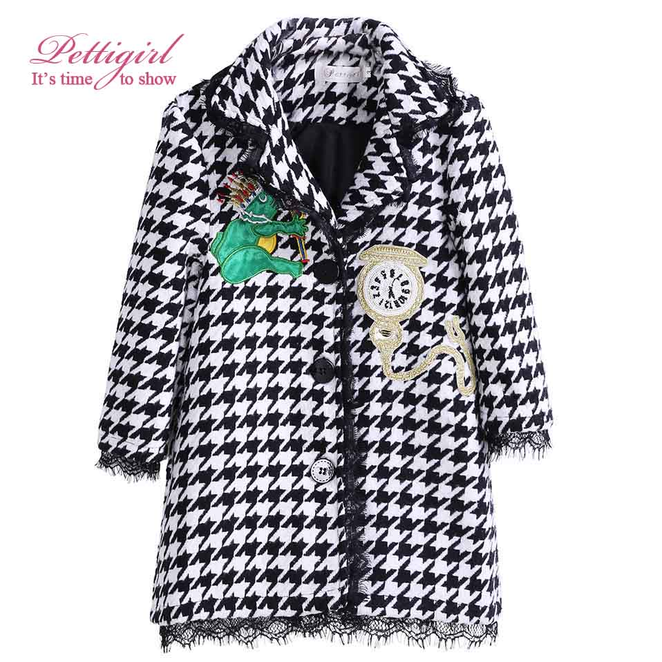 Pettigirl Autumn Houndstooth Girl Coats With Clock Patten Hooded Overcoats Children Fashion Outerwear Girl Jackets G