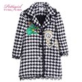 Pettigirl Autumn Houndstooth Girl Coats With Clock Patten Hooded Overcoats Children Fashion Outerwear Girl Jackets G-DMOC908-858