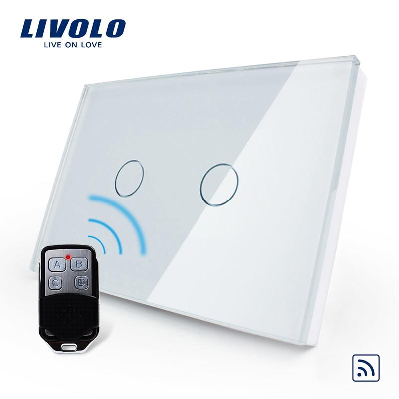 Livolo US/AU Standard Smart Switch, Bianco pannello di vetro, impermeabile di Vetro 2 Gang 1 Way Switch & Mini Remote, VL-C302R-81VL-RMT-02