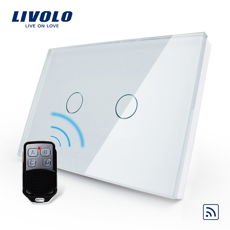 Livolo US/AU Standard Smart Switch, White glass panel , Waterproof Glass 2 Gang 1 Way Switch&Mini Remote, VL-C302R-81VL-RMT-02 2017 free shipping smart wall switch crystal glass panel switch us 2 gang remote control touch switch wall light switch for led