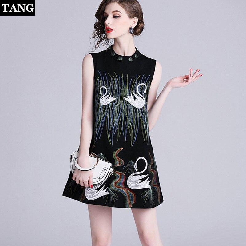 Tang высокое качество женское вышитое платье модное Лебединое женское ТРАПЕЦИЕВИДНОЕ вечернее платье винтажное женское летнее Кукольное пл