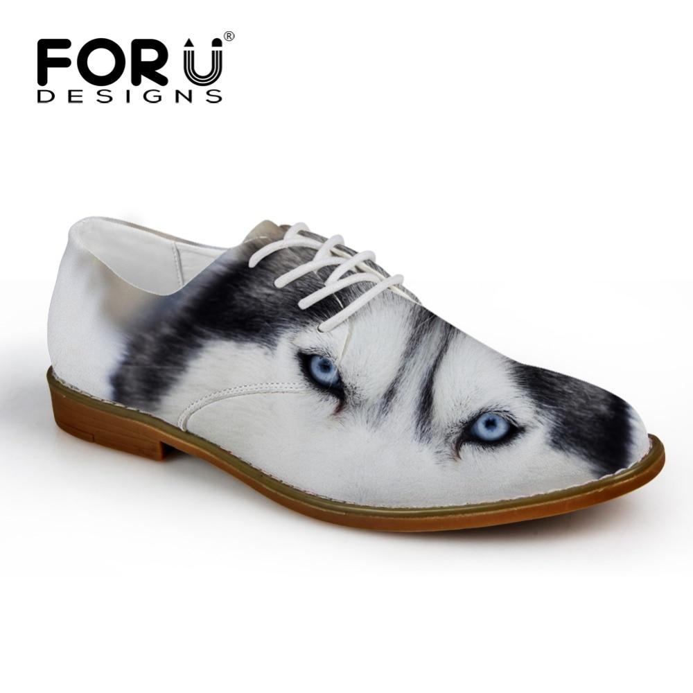 FORUDESIGNS Moderni 3D Zoo životinje Tiskane muške Casual kožne cipele Prozračne Male čipke-up Stanovi Funny Wolf Husky Cipele