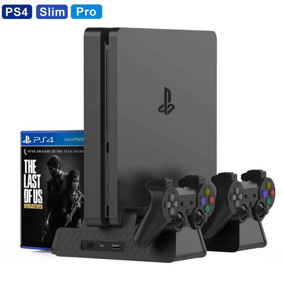PS4 Accessories PS4/PS4 Slim/PS4 Pro Vertical Console Cooling Fan PS4 Controller Charger Game Disk Storage Stand Tower цена и фото