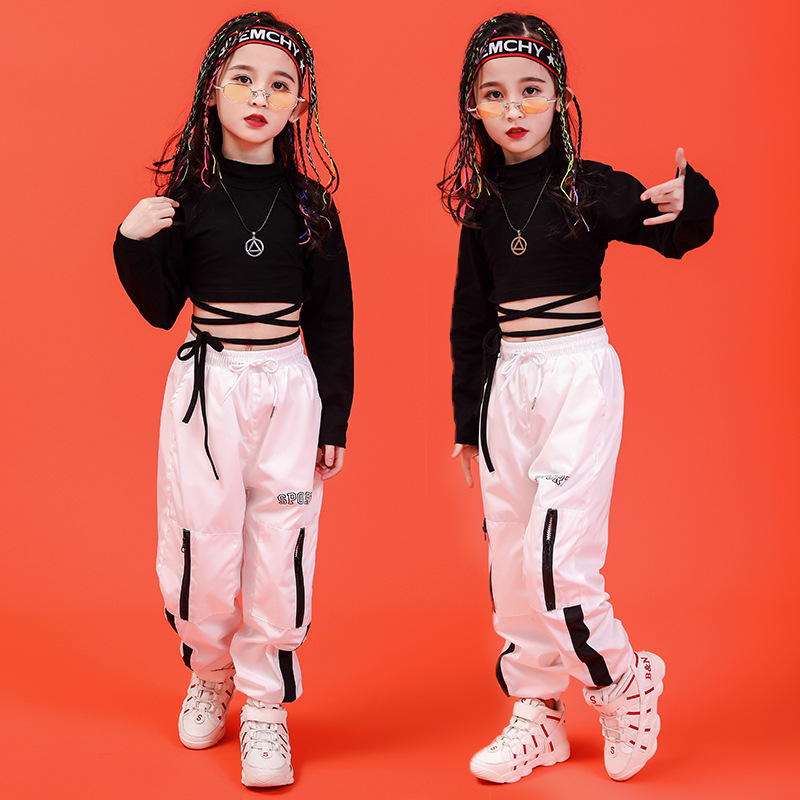 Girls Boys Jazz Hip Hop Dancing Costumes For Kids Black T Shirt Crop Tops Jogger Pants Ballroom Performance Show Dance Clothes