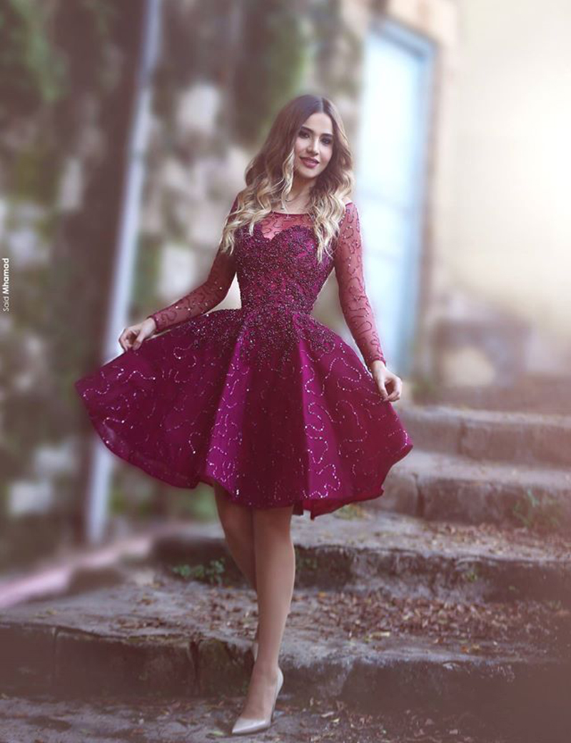 Burgundy Long Sleeves Beading Cocktail Dress 2017 Knee Length Lace ...