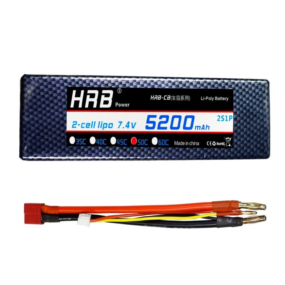 HRB banane connecteur 2 S Lipo batterie 7.4 V 5200 mAH 50C 100C étui rigide RC 1/10 échelle Traxxas Slash 4x4 voiture