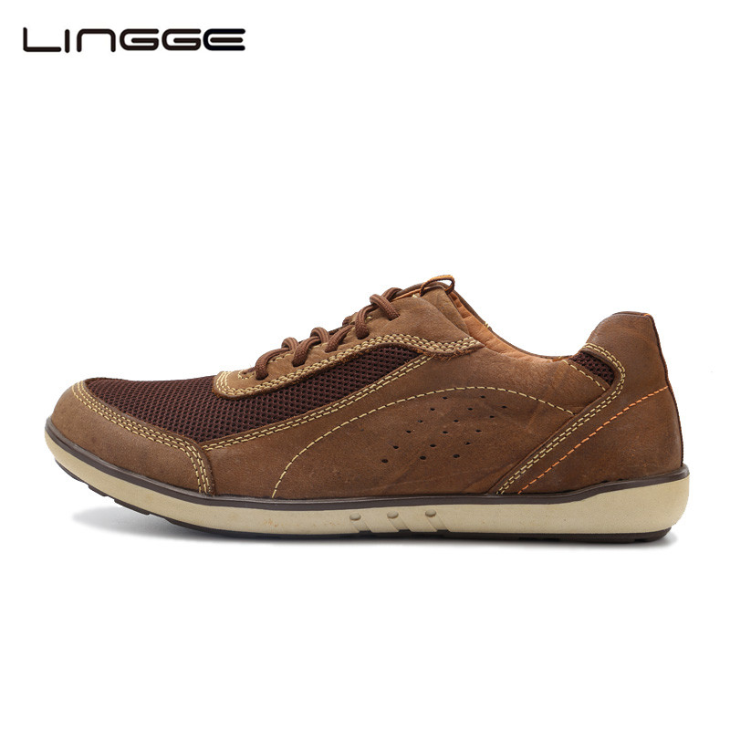 LINGGE Men Casual Shoes Lace-up Suede Leather Men Shoes Breathable Spring Shoes Flats For Men #392-3 top brand high quality genuine leather casual men shoes cow suede comfortable loafers soft breathable shoes men flats warm