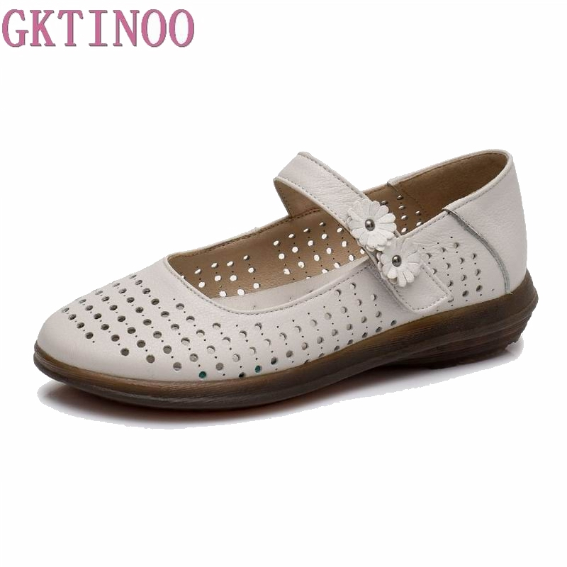 GKTINOO Spring Summer Fashion Ladies Shoes Women Genuine Leather Flats Casual Soft Loafers Shoes Female Cut-Out Women Flat Shoe gktinoo fashion handmade women genuine leather shoes hollow breathable summer spring flats ladies flats shoes casual shoes