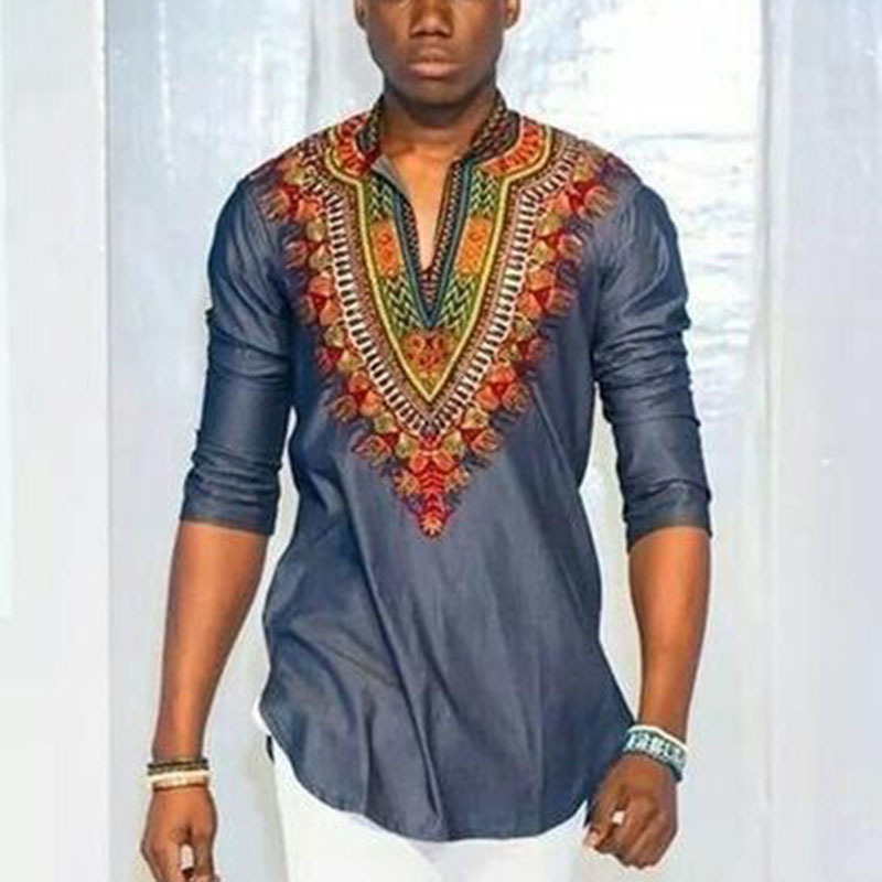 2018 African Promotion Real Men Robe Africaine National Wind Of Printing V-neck 7 Minutes Of Sleeve T-shirt