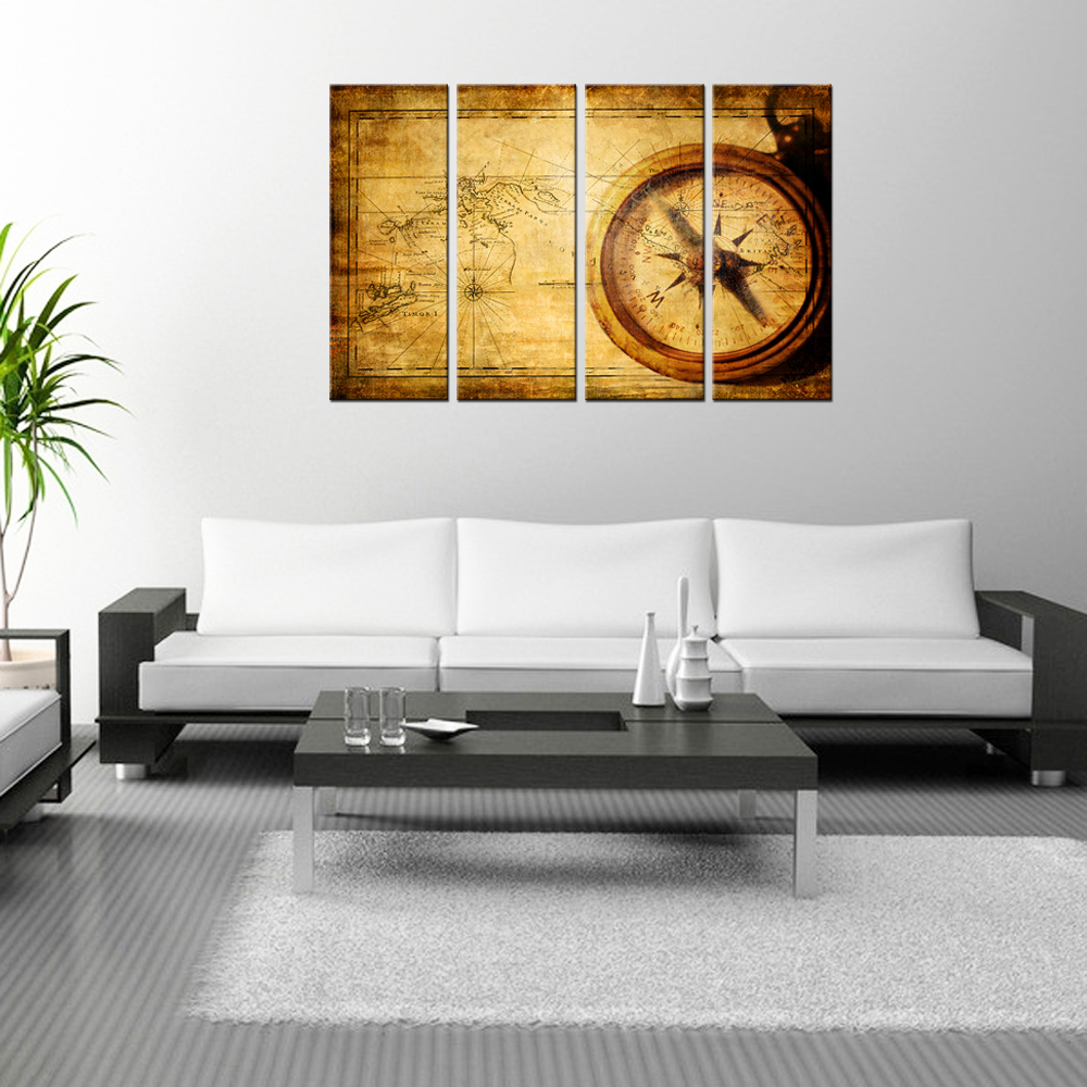 Navigation Canvas Painting Vintage World Map Wall Art Home Decor ...