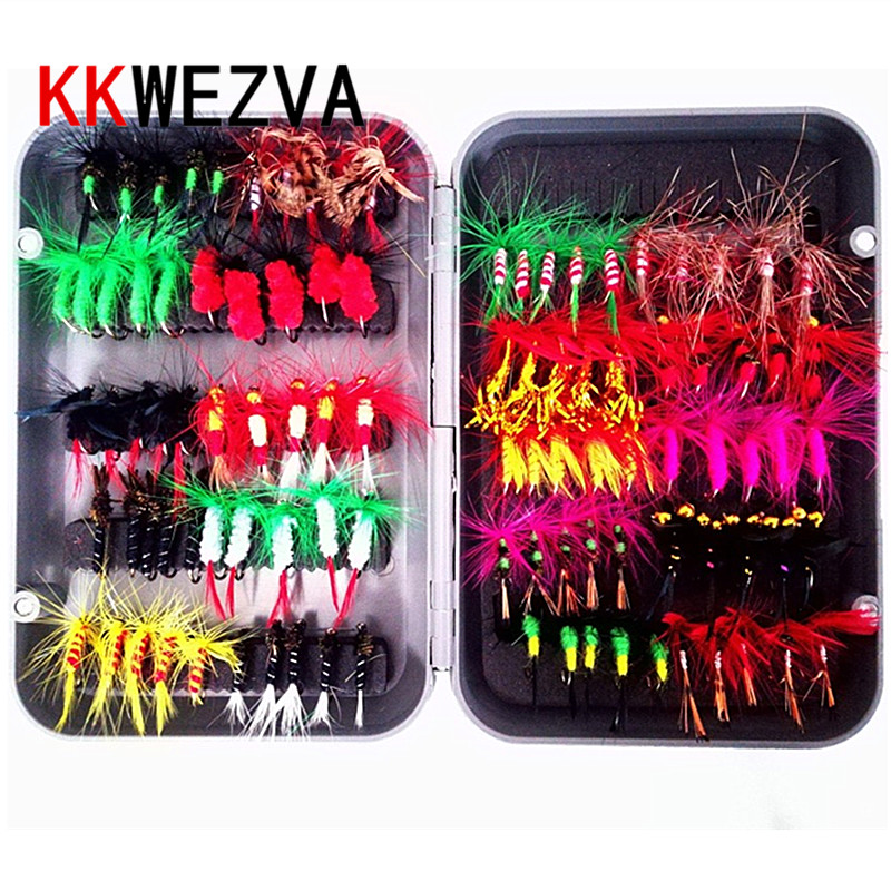 KKWEZVA 100pcs / Different styles sets fishing fly lure set Artificial Insect bait trout fly fishing hooks Artificial tackle wit цены