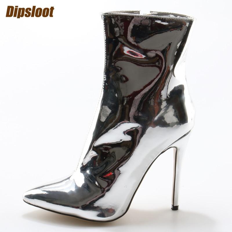 Celebrity Style Metallic Espejo de cuero Hasta la rodilla de plata Botas para mujer Otoño Moda Plateado de cuero metalizado Punta del muslo Punta