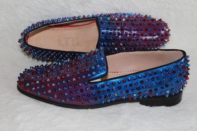 c751cdb97a63 Mens Designer LTTL Spike Shoes Spring Summer Colorful Rivets Loafers Rubber  Soles Slip-on Flats Casual Moccasins for Men
