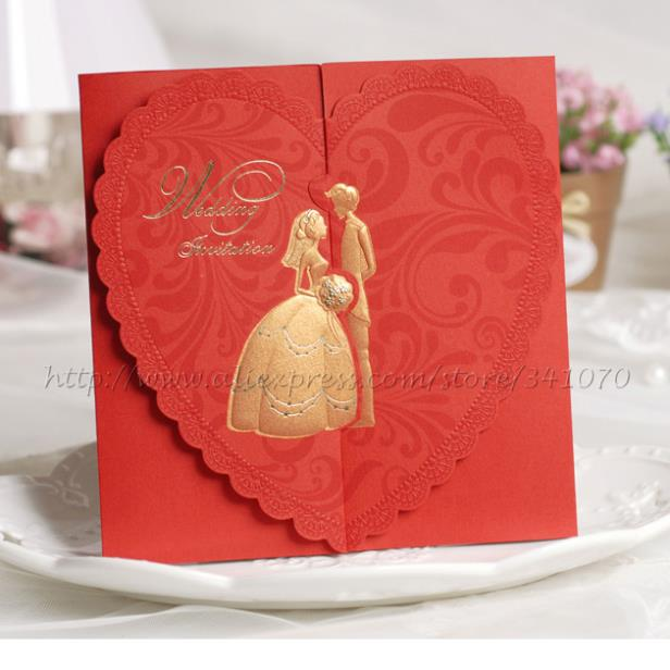 1Set Sample Bride & Groom With Heart Shaped Wedding Invitations With ...