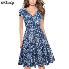 Oxiuly Summer Knee Length Dress Women Blue Floral Print V-Neck Short Sleeve Retro Elegant Sexy A-Line
