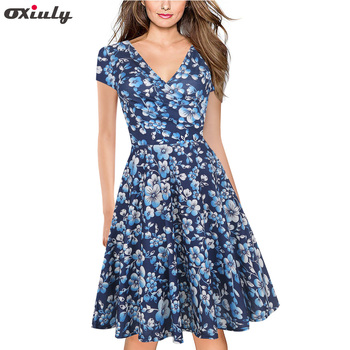 Oxiuly Summer Knee Length Dress Women Blue Floral Print Dress V-Neck Short Sleeve Retro Elegant Sexy A-Line Dress elegant scoop neck abstract print short sleeve dress for women
