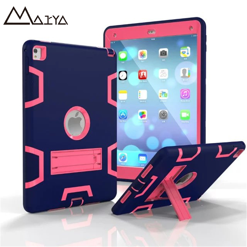 For Apple iPad Pro 9.7' Hybrid Three Layer Heavy Duty Armor Silicone Case for iPad Pro 9.7' Tablet PC Stand Cover With Touch Pen