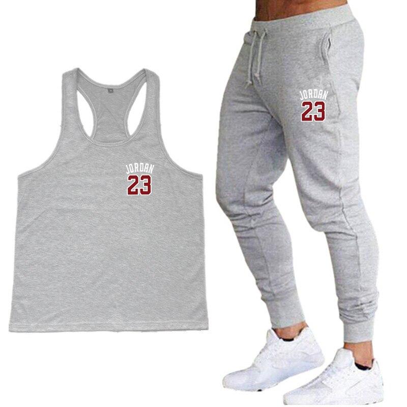 New 2019 Men Vest + Men's Trousers muscle shirt Jordan 23 clothing   tank     top   men sleeveless   tops   bodybuilding stringer vest