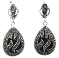 """Hot sell Noble- hot sell new - 11/2"""" late trend 925 Silver & Marcasite inlay black agate Waterdrop Earrings"""
