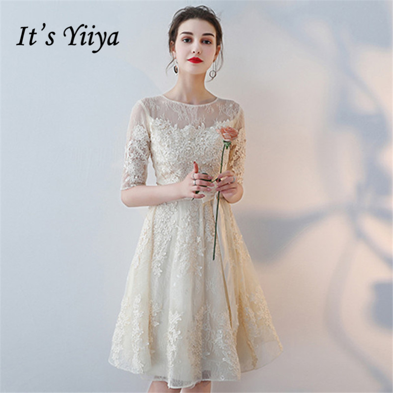 It's YiiYa   Bridesmaids     Dresses   O-Neck Half Sleeve Formal   Dress   Bow Beautiful Lace Illusion Lady Fashion Designer LX1077
