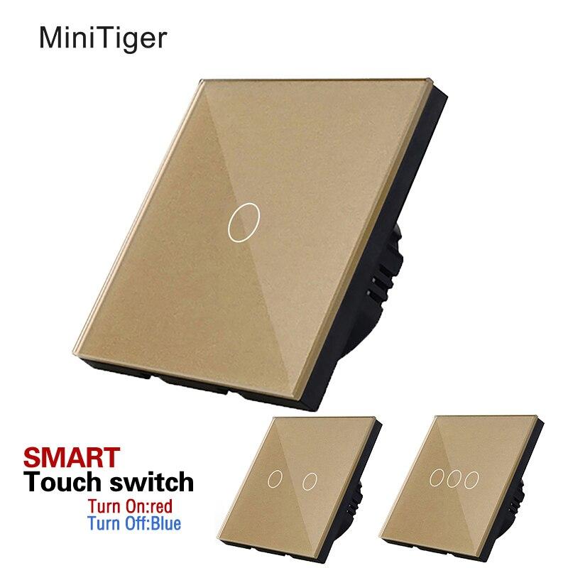 Freies Verschiffen, EU Standard Touch-schalter, Gold Kristallglas Switch Panel, Wandleuchte Touchscreen Schalter