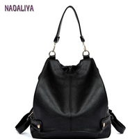 NADALIYA NEW 2017 European and American Style Black Simple Bag Multifunction Shoulder Bags Women High Quality Leather Backpacks