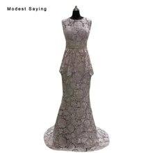 Cubierta de la Foto verdadera Sirena de Encaje Vestidos de Noche 2017 con Peplum Mujeres Partido Prom Vestidos formales vestido de festa Foto real BE160