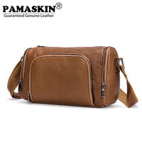 PAMASKIN Men Travel Totes 2018 New Arrivals Premium Genuine Leather Round Shape Male Messenger Bags Fashion