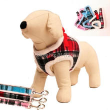 Free shipping new arrival tartan thermal adjustable winter dog harness dog vest with leashes pet collars