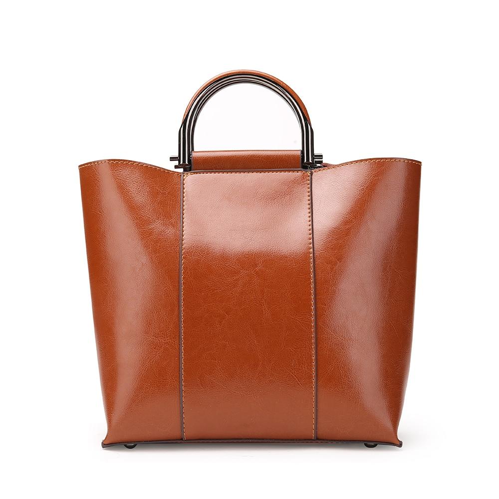 Big Leather Tote Bag Good Quality Handbags Oil Wax Handbag Retro Ladies Handbag For Shopping Bag