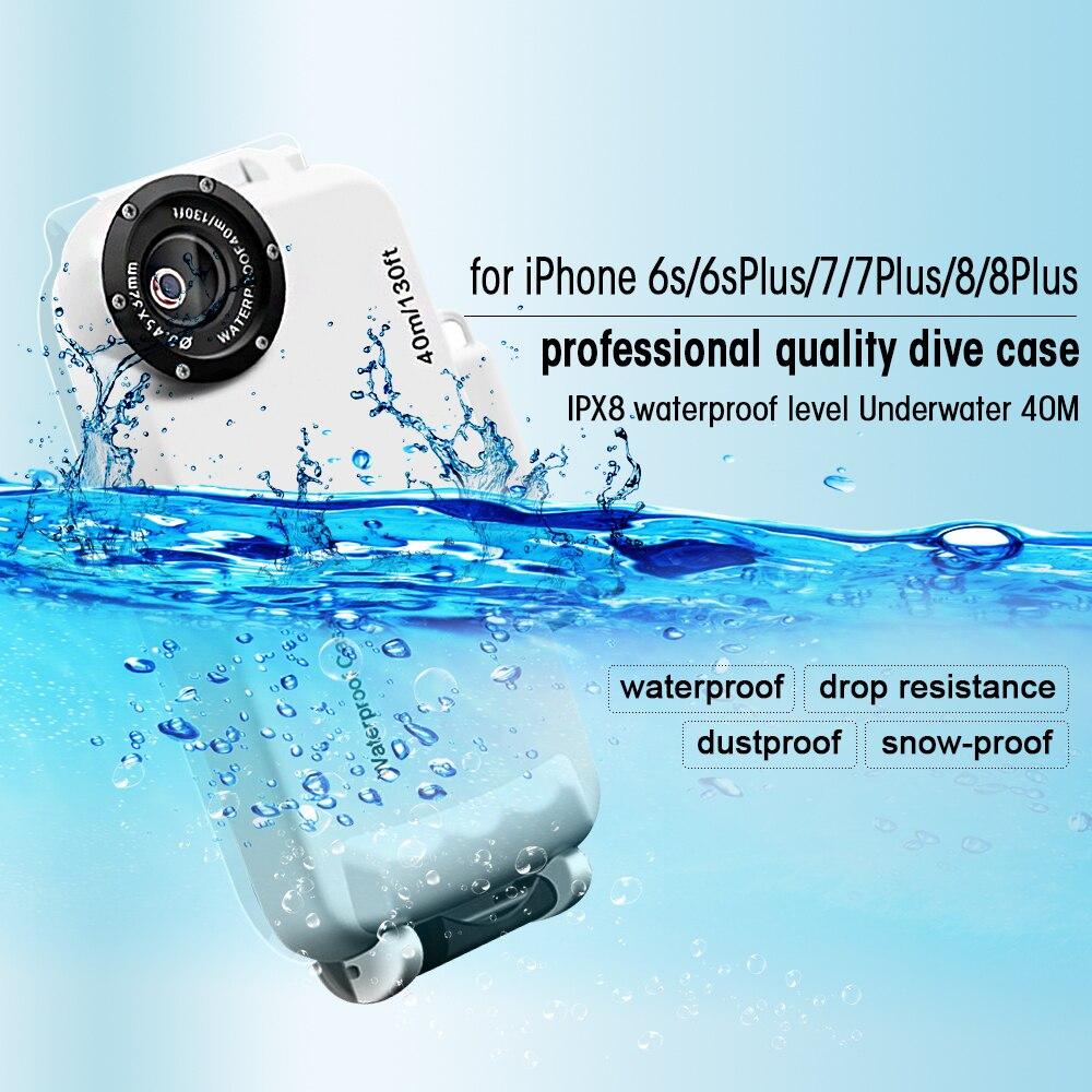 DULCII Plongée Cas pour iPhone 7 Plus 8 6 s 6 Couverture IPX8 40 m/130ft Sous-Marine 40 m Boîtier Étanche pour iPhone 8 Plus 6 s Plus La Couverture