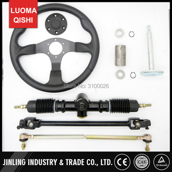 350mm Steering wheel 520mm Gear Pinion 490mm U Joints Tie Rod Assy Fit For DIY China Go Golf Kart Buggy Karting UTV Bike Parts