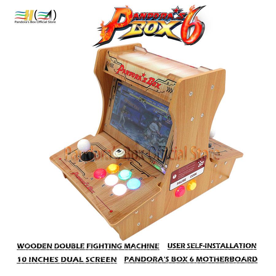 Pandora Box 6 1300 In 1 Wooden Double Fighting Machine Diy Mini Arcade Bartop User Self-installation Support Add Fba Mame Ps1 3d