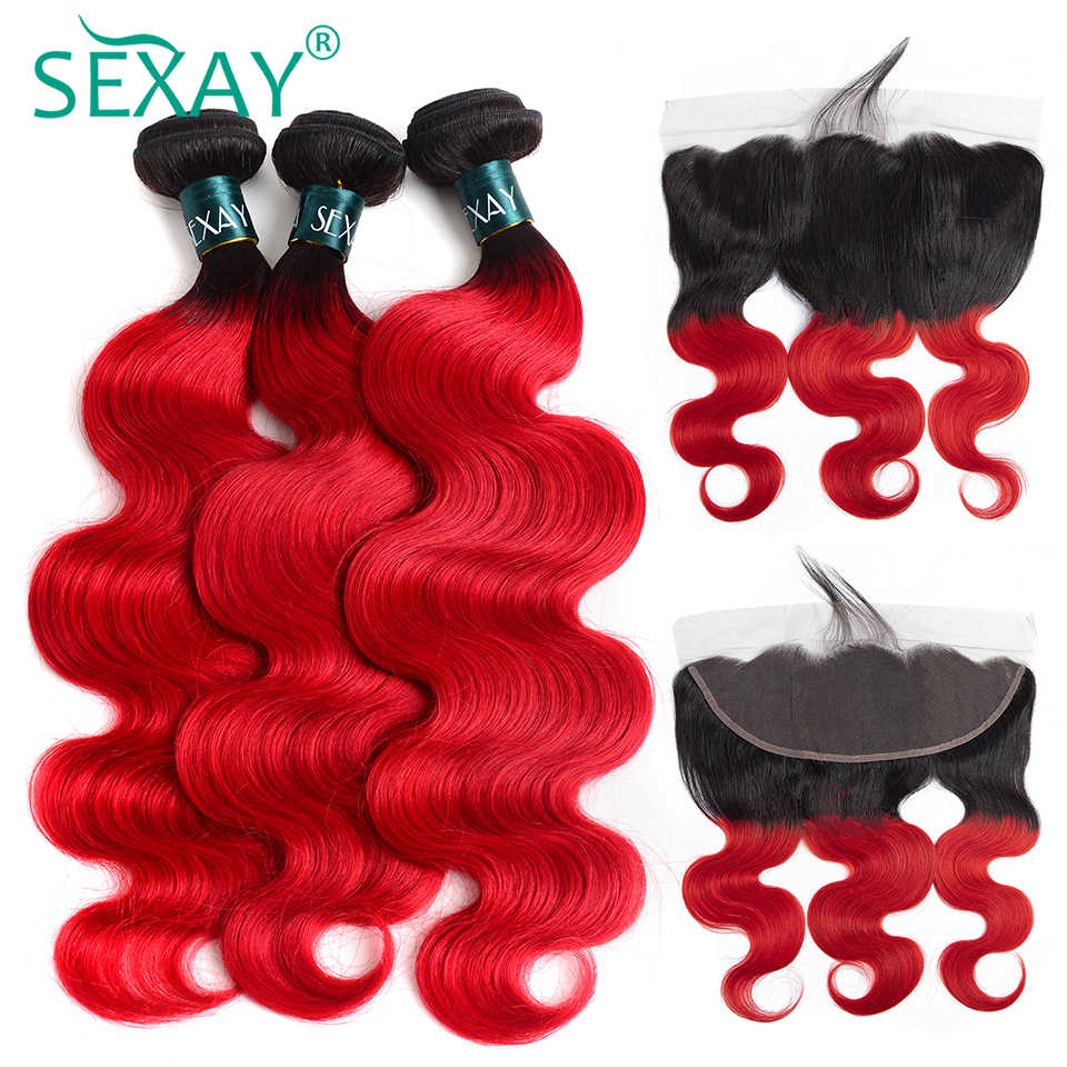 SEXAY 1B/RED Ombre Bundles With Frontal Closures Brazilian Human Hair Body Wave Non Remy Hair Extensions 3 Bundles With Closures