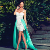 Sexy Short White Green Lace High Low Mermaid Gala Prom Party Dress Chiffon Removable Skirt For