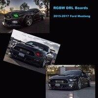 Беспроводной Bluetooth телефон приложение контроллер RGBW DRL панели многоцветный свет ходовые огни для 2015 2017 2016 Ford Mustang