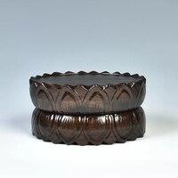 Ручной резной Лотос основа из цельной древесины овальный Bodhisattva база бонсай каменная основа набор из трех