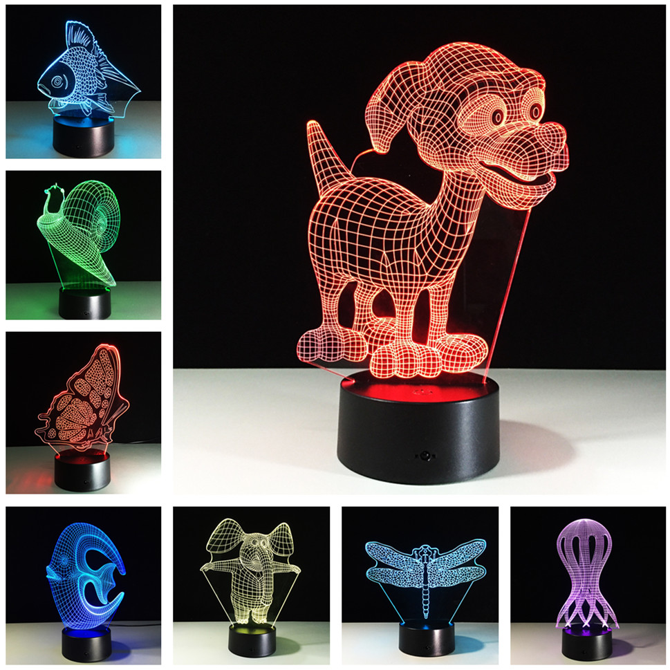Cute Light Color Changing 3D Cartoon Night Lights Bedside Lamp ...