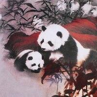 12 momme 114 cm largura estilo Chinês Panda urso impresso 100% amoreira seda crepe de chine roupas vestido de tecido vestuário materiais