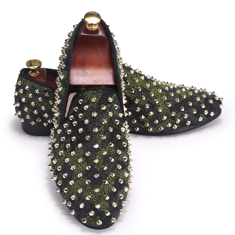 Leather Men Shoes British Style Spikes Shoes Loafer Camouflage Flat shoes Size 7-14