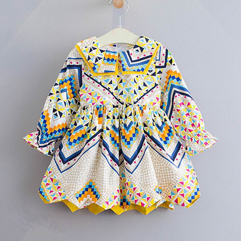 2019 Autumn Children Girls New Fashion Bohemian Style Good Long Sleeve Color Print Cotton Dress 2-7 Years !