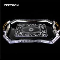 Upscale Metal Stainless Steel Mirror Spirits Wine Tray Tea Set Tray Restaurant Pendulum Water Glass Cup Sets Loaded Dish Plate
