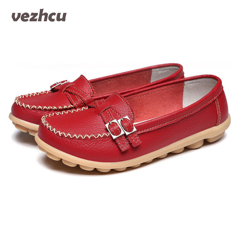 Flats Shoes Woman Genuine Leather Casual Flats With Buckle Loafers Slip On Women's Shoes Moccasins Plus Size 35-41 6d51 camel active 2018 new authentic brand casual men genuine leather loafers shoes handmade moccasins shoes outdoor flats plus size