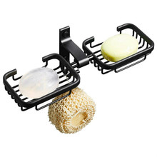 Double Soap Dish Wall Mounted Holder Tray for Bathroom Shower Bath Kitchen Sink Black Organizer